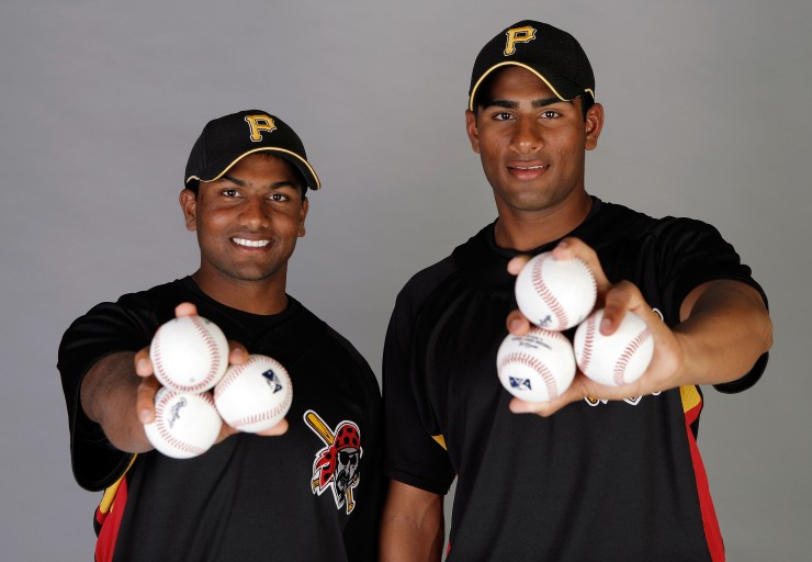 Rinku Singh and Dinesh Patel of the Pittsburgh Pirates