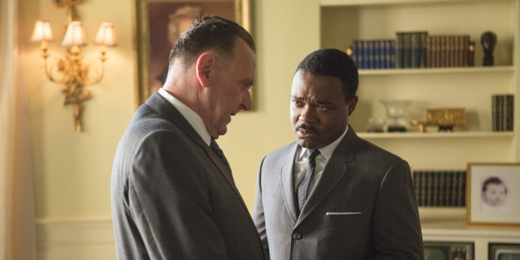 Left to right: Tom Wilkinson plays President Lyndon B. Johnson and David Oyelowo plays Dr. Martin Luther King, Jr. in SELMA, from Paramount Pictures, Pathé, and Harpo Films. SEL-13350