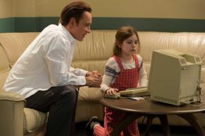 "Steve Jobs (MICHAEL FASSBENDER) with daughter Lisa Brennan (MAKENZIE MOSS) in ""Steve Jobs"", directed by Academy Award® winner Danny Boyle and written by Academy Award® winner Aaron Sorkin. Set backstage in the minutes before three iconic product launches spanning Jobs' career—beginning with the Macintosh in 1984, and ending with the unveiling of the iMac in 1998—the film takes us behind the scenes of the digital revolution to paint an intimate portrait of the brilliant man at its epicenter."